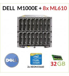 "DELL POWEREDGE M1000E + 8x DELL M610 2x XEON 5660 32GB RAM 2x146GB SAS 2.5"""